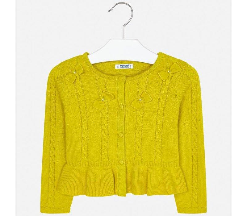 Wunderschöner, fein gestrickter gelber Cardigan mit feinen Zöpfen und Schleifen