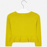 Beautiful fine knitted yellow cardigan, with fine cables and bows