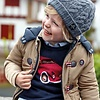 mayoral Beautiful dark blue boy's sweater with car and cool stripes across the sleeve