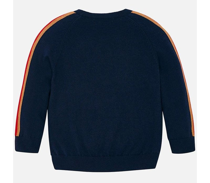 Beautiful dark blue boy's sweater with car and cool stripes across the sleeve