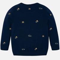Beautiful fine knitted dark blue boy's sweater with car motif