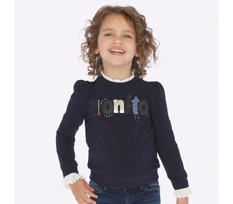 Wunderschöner dunkelblauer Pullover mit wunderschönem Kragen und Ärmeldetail
