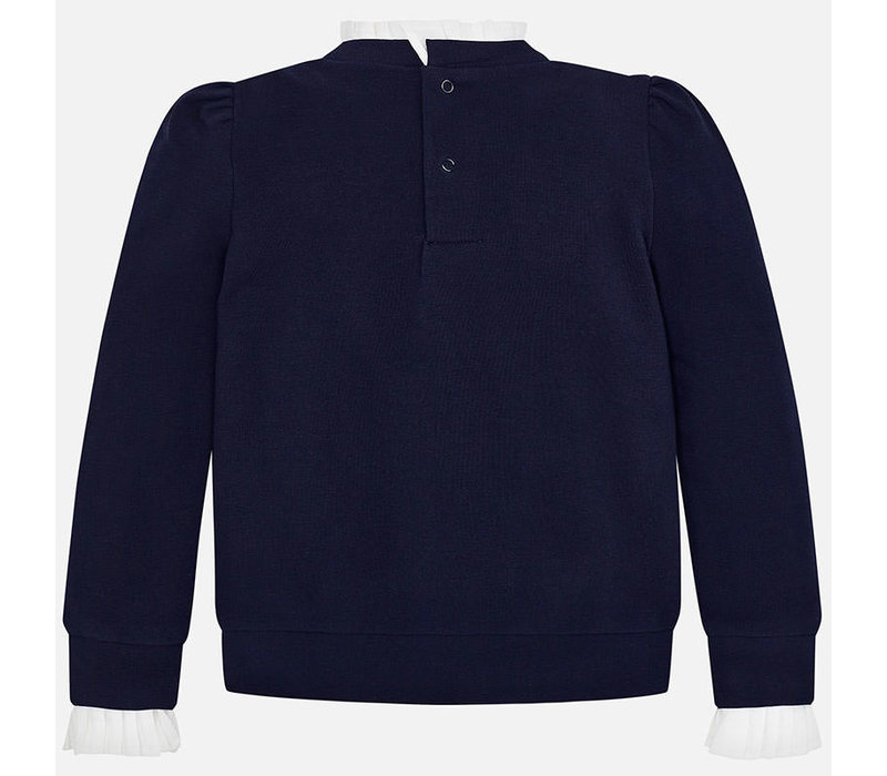 Beautiful dark blue pullover with beautiful collar and sleeve detail