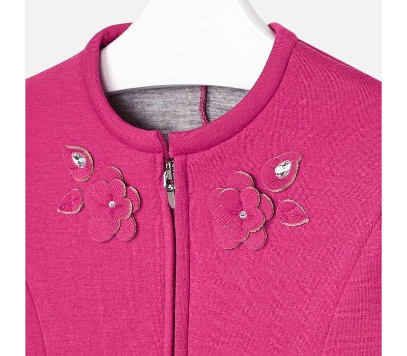 Beautiful short cardigan, fuchsia with beautiful flower details, stones and zip fastening