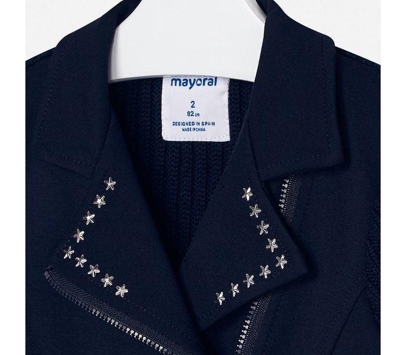 Wunderschöne dunkelblaue Kurzjacke mit Strickärmeln, schrägem Reißverschluss und schönen Details am Kragen