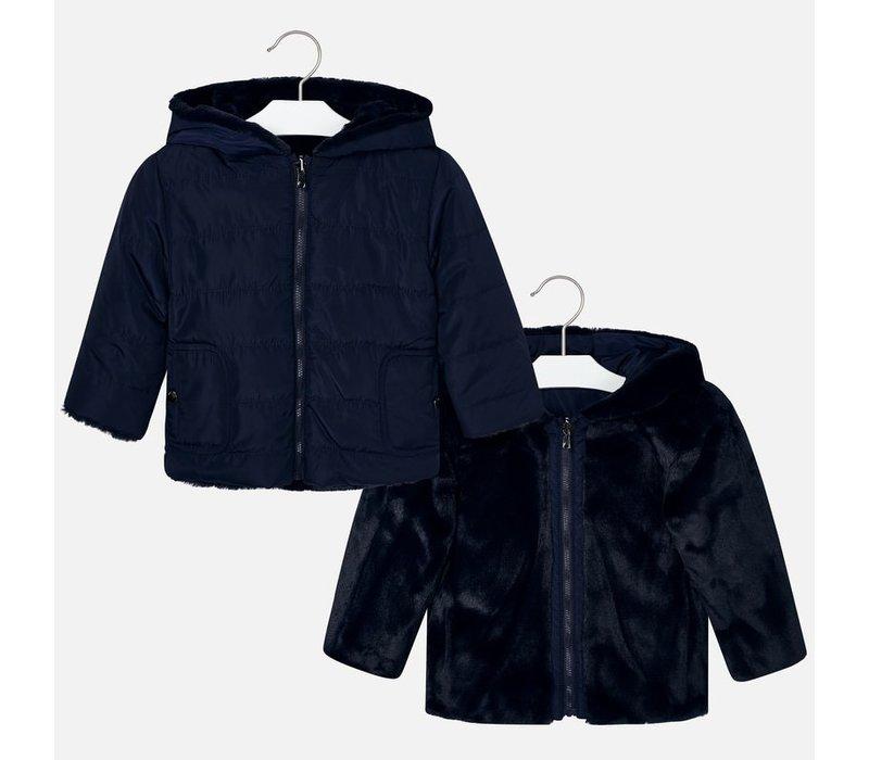 Wunderschöner dunkelblauer Mädchenmantel, der an 2 Seiten getragen werden kann