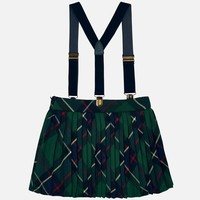 Dark green checkered skirt, with pleats on the side and suspenders