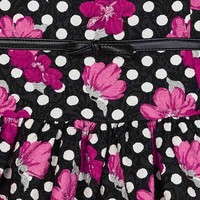 Cheerful dress, black with white dots and fuchsia flowers. With stylish leather strap.