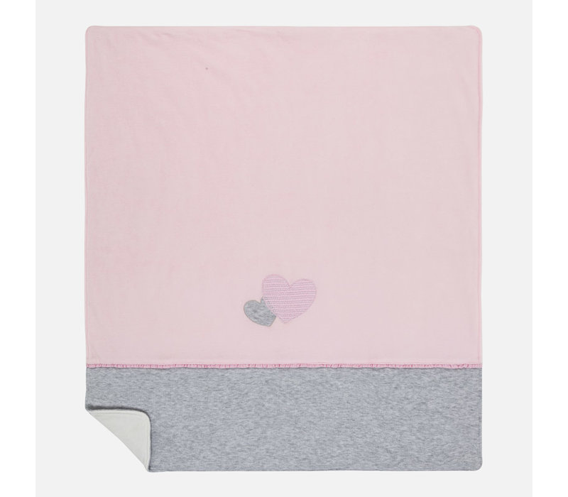 Beautiful blanket, pink / gray with hearts
