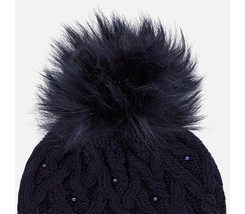 Wunderschönes dunkelblaues Set mit Mütze, Handschuhen und Schal