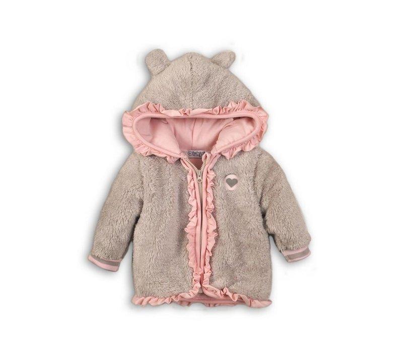 Dirkje baby jacket gray-pink