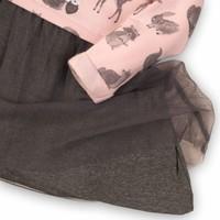 Dirkje schattig roze-grijs jurkje met tule