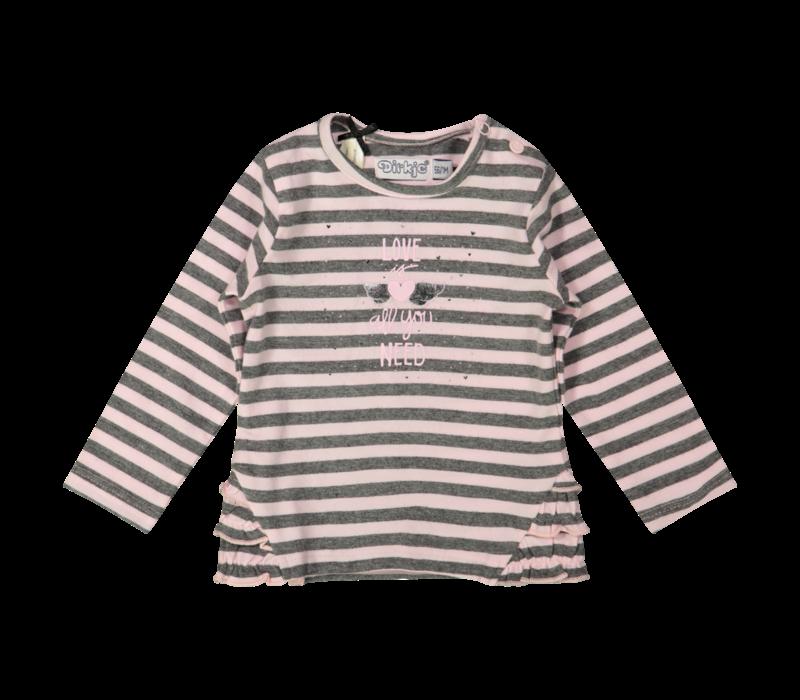 Dirkje gestreept shirtje roze-grijs
