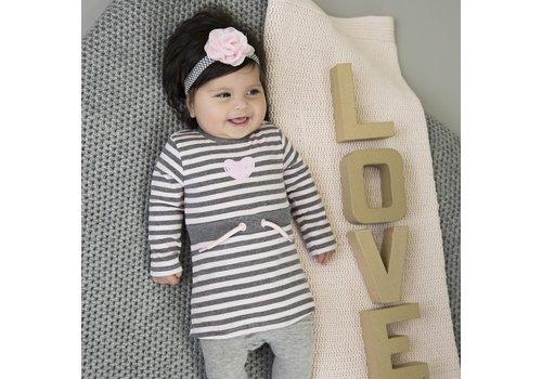 Dirkje Dirkje gestreept jurkje grijs-roze hart