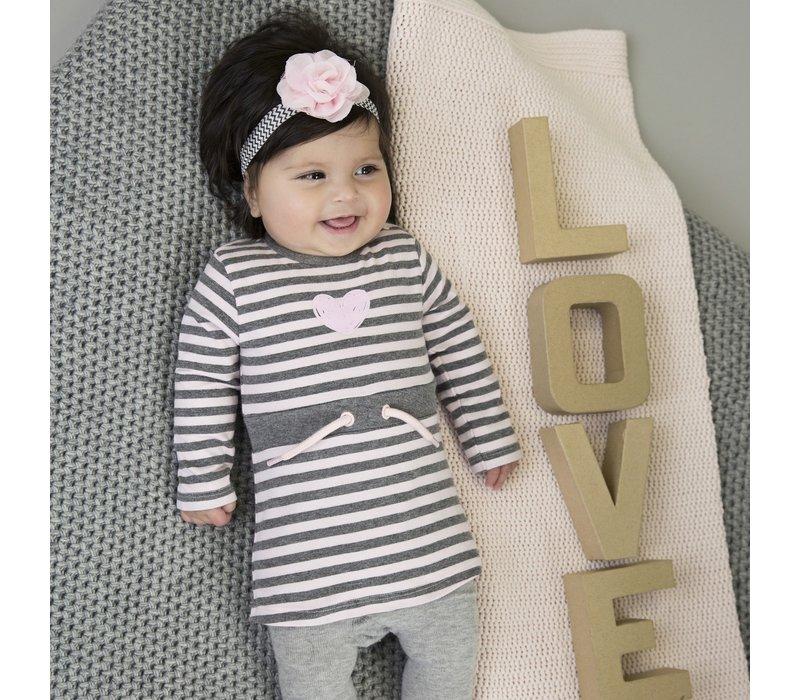 Dirkje gestreept jurkje grijs-roze