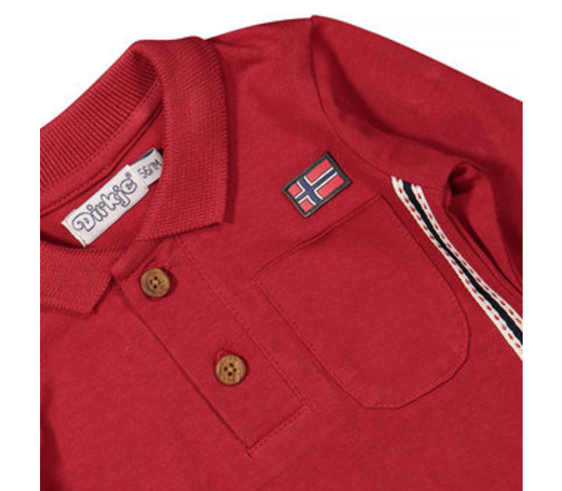 Dirkje dark red polo long sleeve