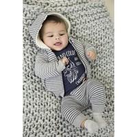 Dirkje grijs gestreept jongens broekje sweater stof
