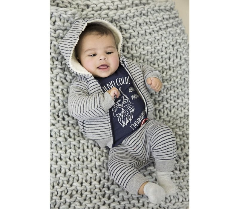 Dirkje gray striped boys pants sweater fabric