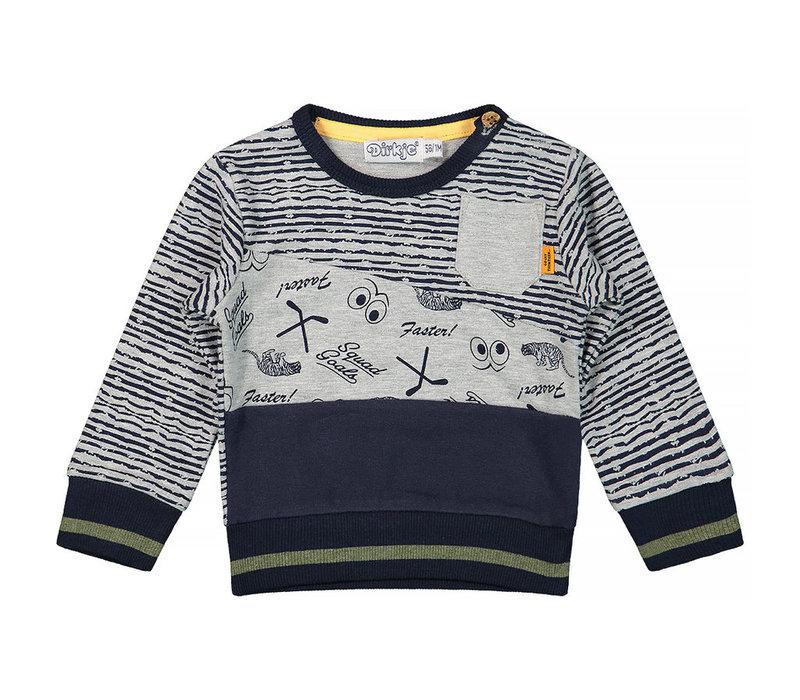 Dirkje sportieve jongens sweater grijs-blauw