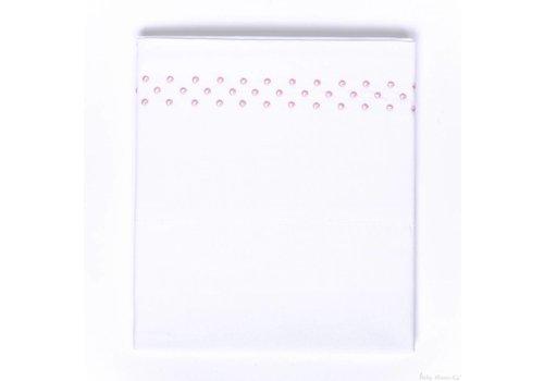 Baby anne-cy Weiße Wiege mit rosafarbenen gestickten Punkten
