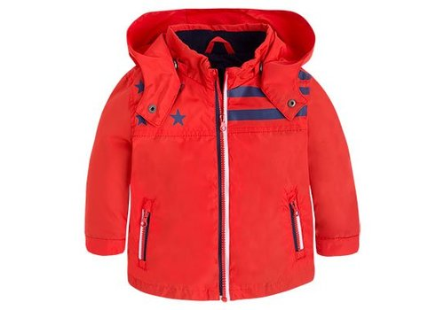 Mayoral Red boys jacket with detachable hood
