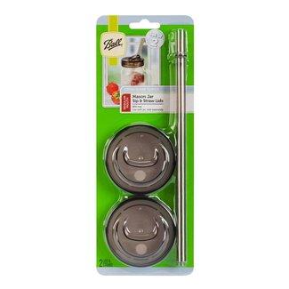 Ball BALL® 1-PIECE, regular mouth sip & straw lids   2 pieces