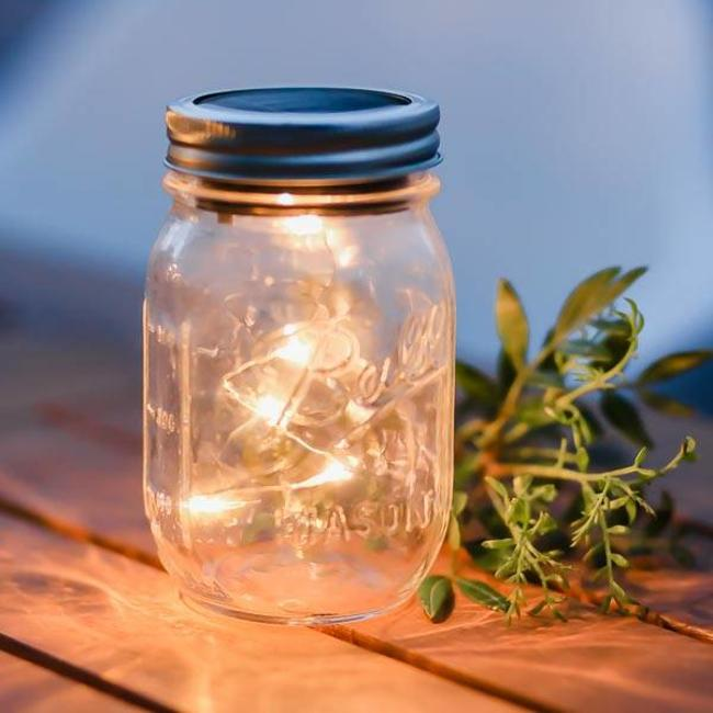 Masonjar Label Solar lighting Mason Jar 5 LED
