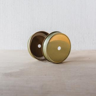 Masonjar Mason Jar regular straw deksel goud