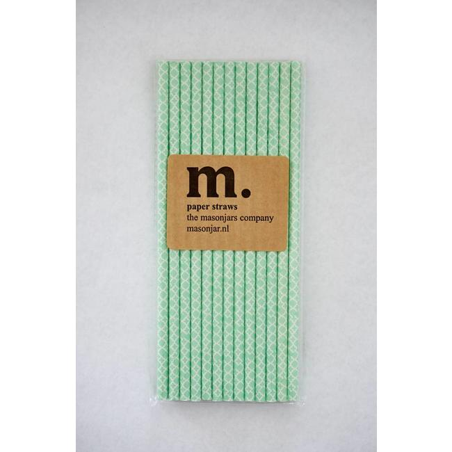 Masonjar Label 004 Paper Straw Quatrefoil Mint Green