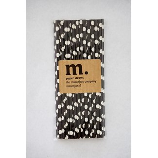 Masonjar Label 006 Paper Straws Black Dot