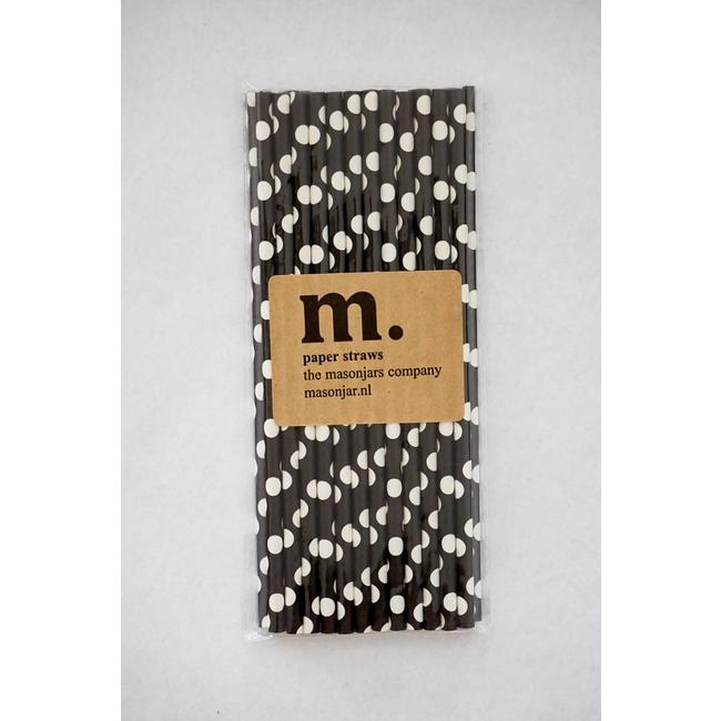 Masonjar Label 006 Paper Straws Black Dot