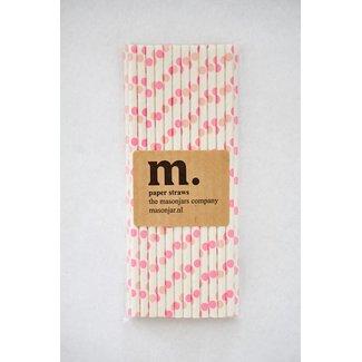 Masonjar Label 007 Paper Straw Pink Dot