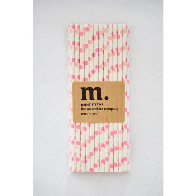 Masonjar Label 007 Paper Straw Pink Dot