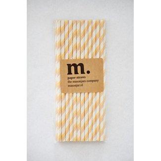 008 Paper straws Yellow/Brown Stripe