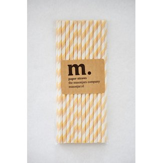 Masonjar Label 008 Papieren rietjes Yellow/Brown Stripe