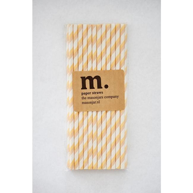 Masonjar Label 008 Papieren rietjes Yellow/Brown Stripe