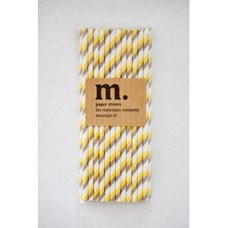 Masonjar Label 009 Paper straws Yellow/Grey Stripe