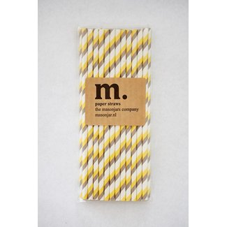 Masonjar Label 009 Papieren rietjes Yellow/Grey Stripe