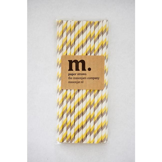 Masonjar Label 009 Paper straws Yellow/Grey Stripe