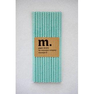 Masonjar Label 010 Paper straws Blue Chevron