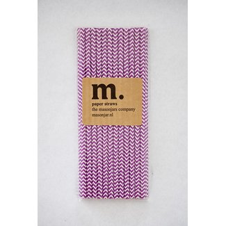 Masonjar Label 011 Paper straws Purple Chevron