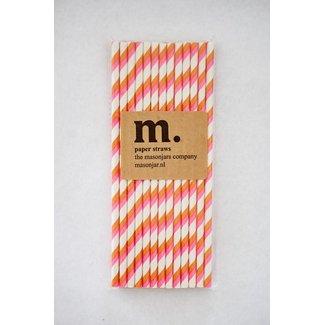 017 Paper Straw Pink and Orange Stripe