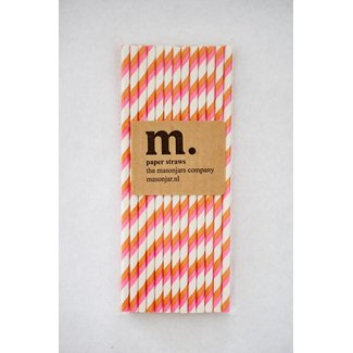 Masonjar Label 017 Paper Straw Pink and Orange Stripe