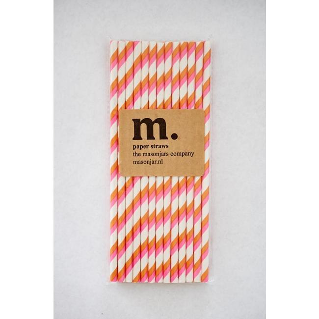 017 Papieren rietjes Pink and Orange Stripe