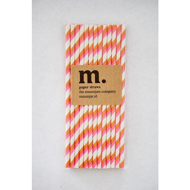 Masonjar Label 017 Papieren rietjes Pink and Orange Stripe