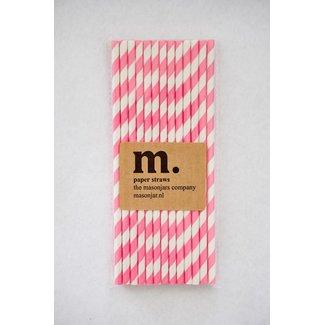 Masonjar Label 018 Papieren rietjes Pink Stripe Dark