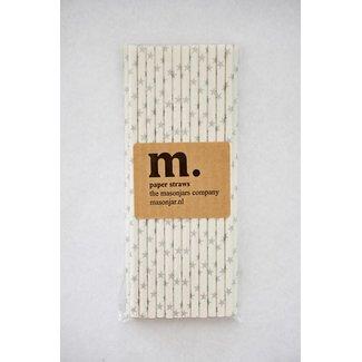 Masonjar Label 021 Paper straws Silver Stars