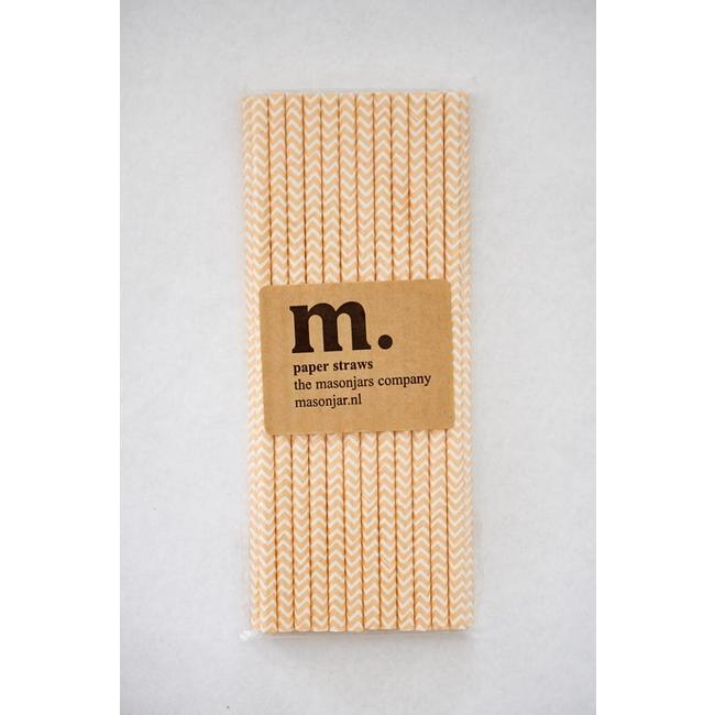 Masonjar Label 022 Paper straws Light Orange Chevron