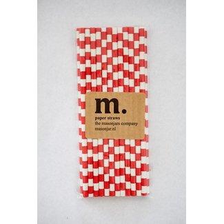 Masonjar Label 023 Paper straws Red Stripe Horizontal
