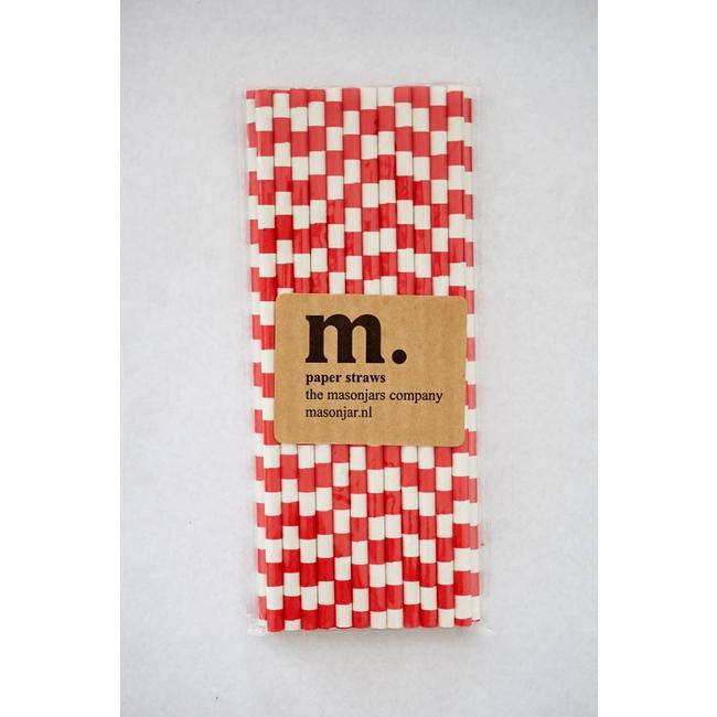 Masonjar Label 023 Papieren rietjes Red Stripe Horizontal